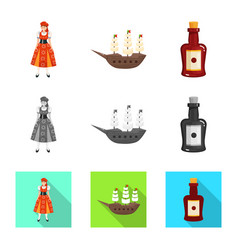 Isolated object and historic symbol set and vector