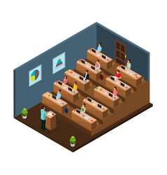 Isometric university education concept vector