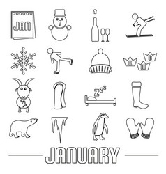 january month theme set of simple outline icons vector image