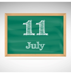 July 11 day calendar school board date vector