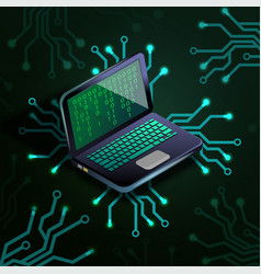 laptop binary code circuit board vector image