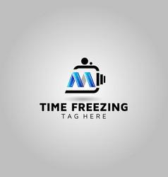 Letter m video logo design photography vector