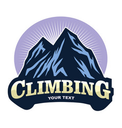 logo mountain climbing adventure camping vector image