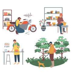 Man cooking hunting and pottery pots making hobby vector