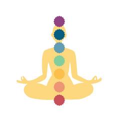 Meditating human in lotus pose yoga vector