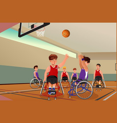 men in wheelchairs playing basketball vector image