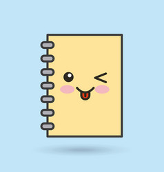 Notebook character kawaii style vector