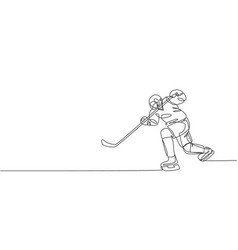 one single line drawing young ice hockey vector image
