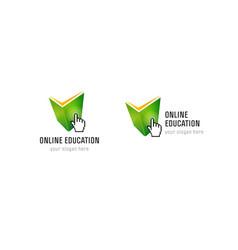 Online education hand book check logo vector
