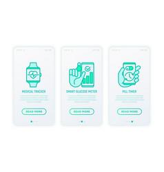 online medicine telemedicine thin line icons set vector image