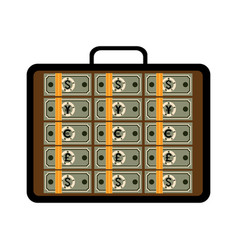 open briefcase with bundles of different banknotes vector image