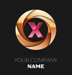 pink letter x logo symbol in golden circle shape vector image