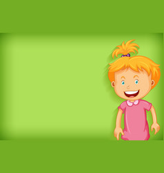 Plain background with happy girl in pink dress vector