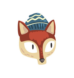 red fox animal wearing blue knitted winter hat vector image