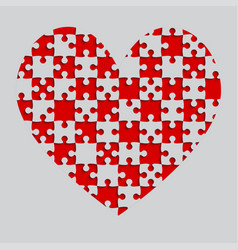 red puzzle heart pieces - jigsaw - field chess vector image