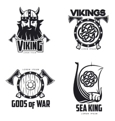 Scandinavian Viking set of logos vector