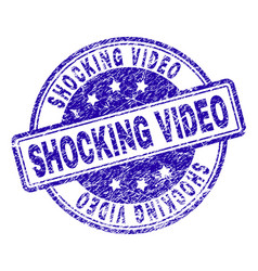 Scratched textured shocking video stamp seal vector