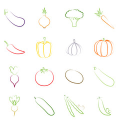 Set of outlines of vegetables vector