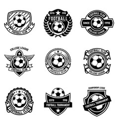 set winged emblems with soccer ball design vector image