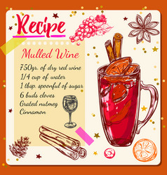 Sketch mulled wine recipe vector
