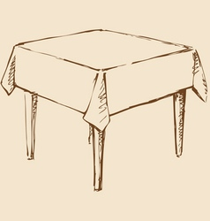 Square table with tablecloth vector image