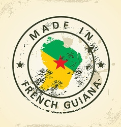 Stamp with map flag of French Guiana vector image