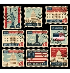 Stamps with united states america landmarks vector