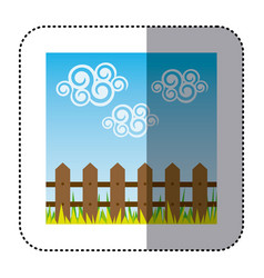 Sticker colorful landscape with wood grate and vector
