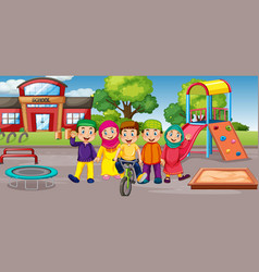 Student at school playground vector