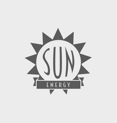 sun energy logo label design concept with sun and vector image