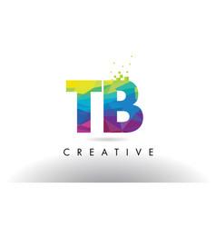 Tb t b colorful letter origami triangles design vector