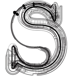 Technical typography Letter s vector