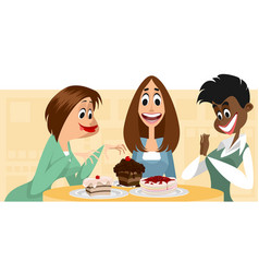 three women and desserts vector image