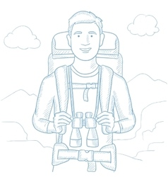 Traveler with backpack vector image