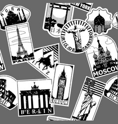 vintage paper landmarks travel labels seamless vector image