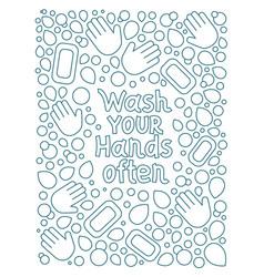 Wash your hands often soap bubble doodle vector