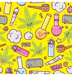 Weed kawaii cartoon seamless pattern vector