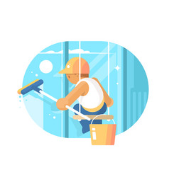 Window cleaner washes glass vector