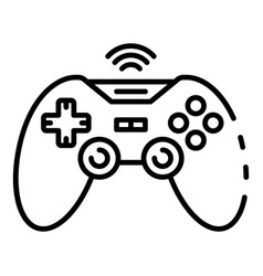 wireless game joystick icon outline style vector image
