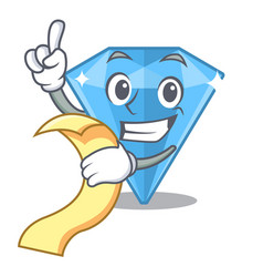 With menu sapphire gem in a mascot box vector