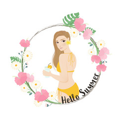 woman in swimwear in hibiscus floral wreath frame vector image