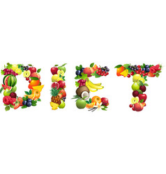 Word DIET composed of different fruits with leaves vector image
