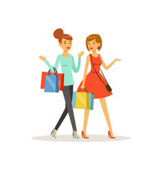 Young happy women walking with shopping bags girl vector