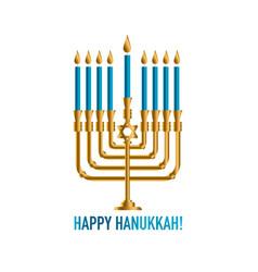 bronze hanukkah menorah with burning candles vector image vector image