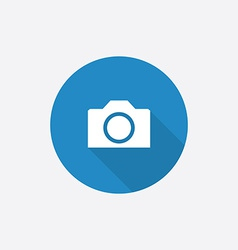 camera Flat Blue Simple Icon with long shadow vector image vector image