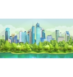 City and nature landscape vector image vector image