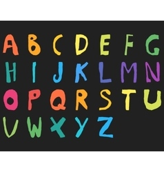 Hand drawn child English alphabet Color Bold vector image