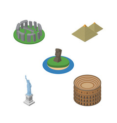isometric architecture set of chile new york vector image vector image