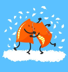 pillow fight vector image vector image
