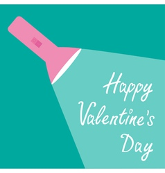 Pink flashlight and ray of light Valentines Day vector image